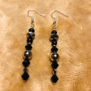 Artisan Black & Silver Dangle Earrings